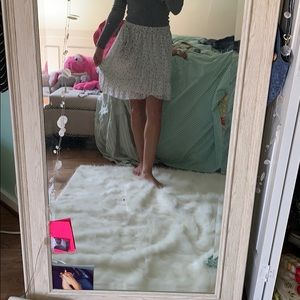 White grey and pink flowered mini skirt